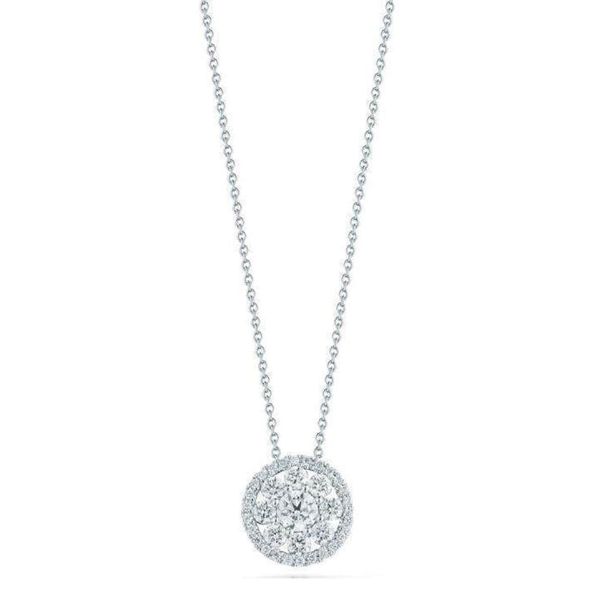 18k White Gold & Diamond Round Pendant Necklace - 519071AWCHX0-Roberto Coin-Renee Taylor Gallery