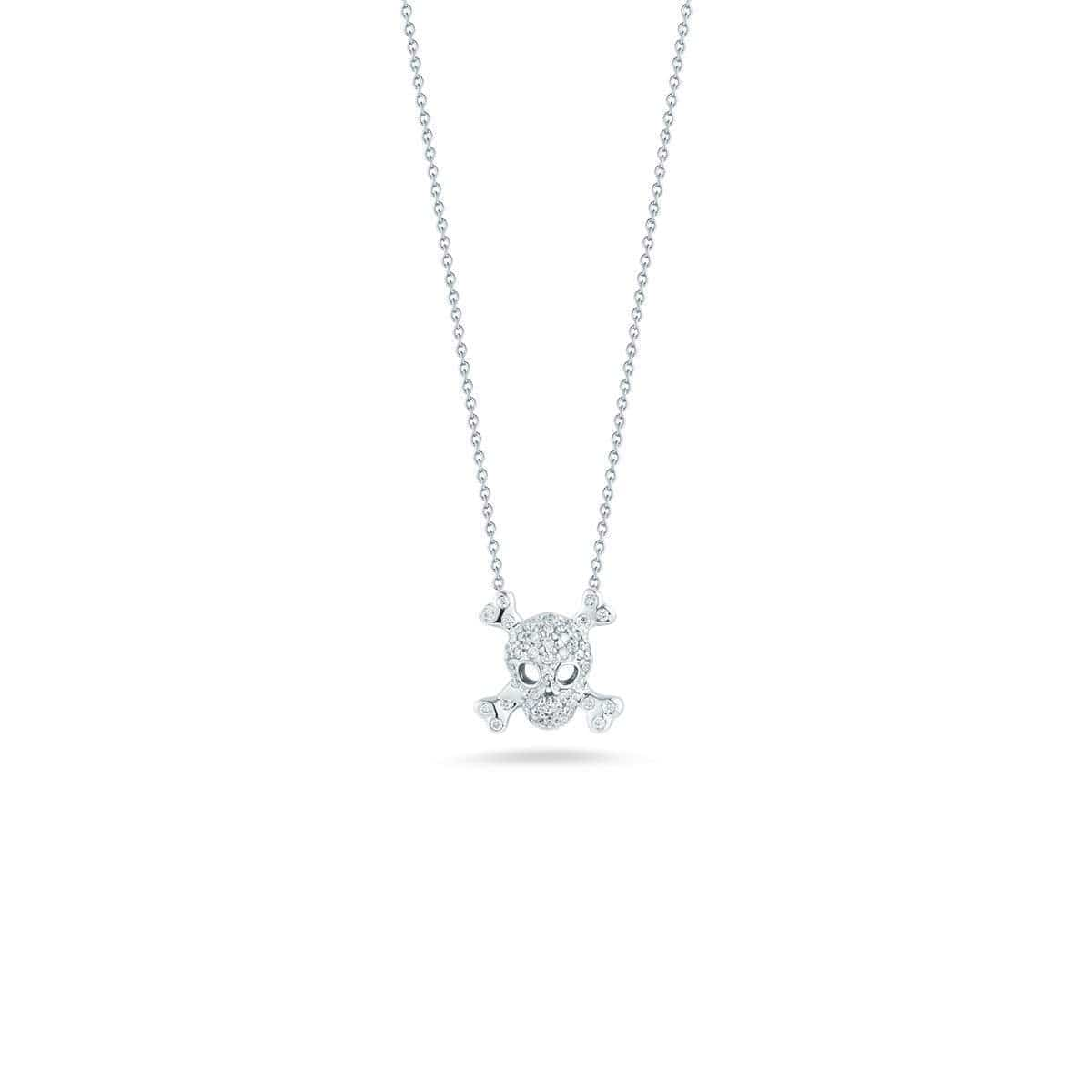 18k White Gold & Diamond Skull & Crossbone Necklace - 001403AYCHX0-Roberto Coin-Renee Taylor Gallery