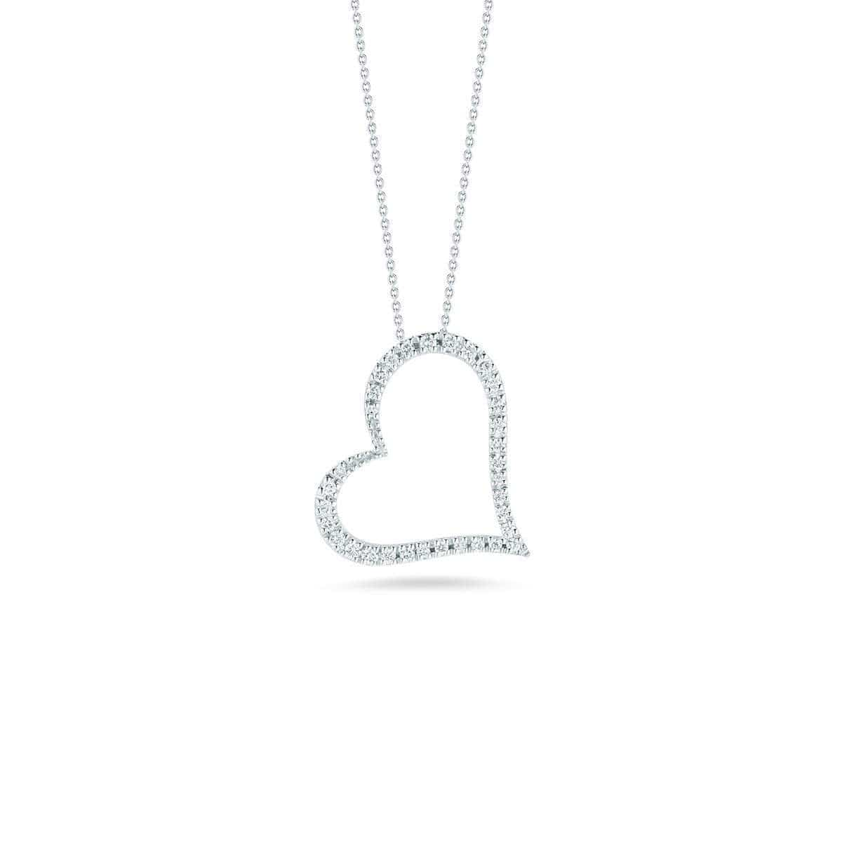 18k White Gold & Diamond Slanted Open Heart Necklace - 001443AWCHX0-Roberto Coin-Renee Taylor Gallery