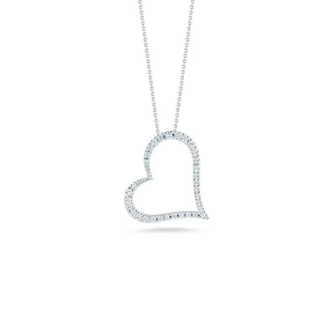 18k White Gold & Diamond Heart Necklace - 001443AWCHX0-Roberto Coin-Renee Taylor Gallery