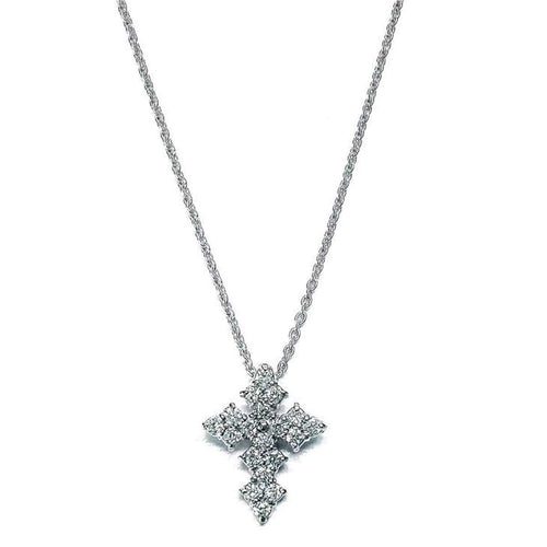 18k White Gold & Diamond Cross Necklace - 000038AWCHX0-Roberto Coin-Renee Taylor Gallery