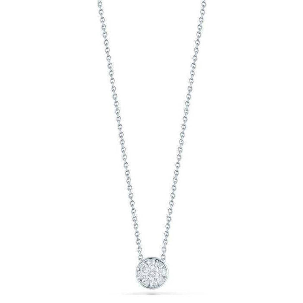 18k White Gold & Diamond Small Round Necklace - 518151AWCHX0-Roberto Coin-Renee Taylor Gallery