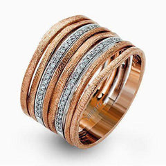18K White & Rose Gold Band Ring - MR2261-WR-Simon G.-Renee Taylor Gallery