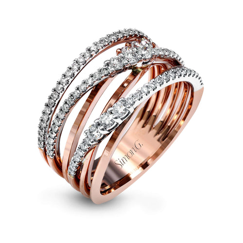 18K White & Rose Gold Right Hand Diamond Ring - MR2606-WR-Simon G.-Renee Taylor Gallery