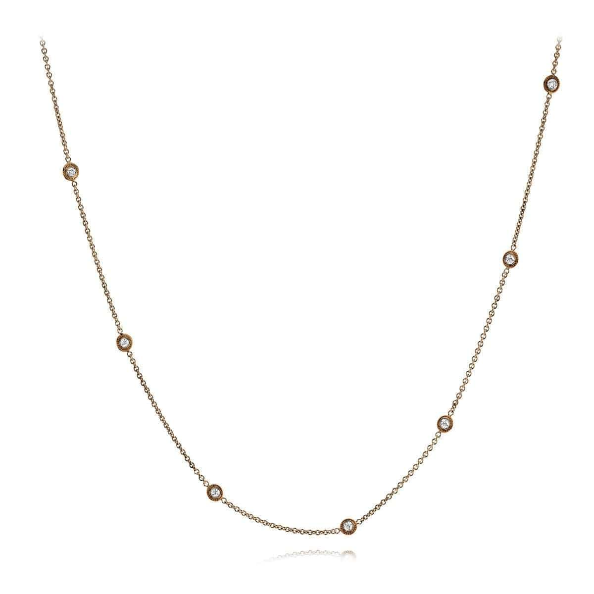 18k White & Rose Gold Rounds Diamonds Chain - CH111-WR