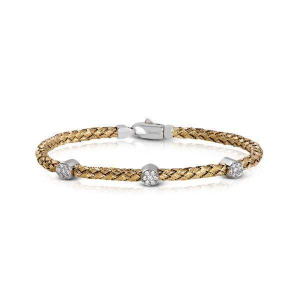 18k White & Yellow Gold Round Diamonds Bangle - LB2091-YW