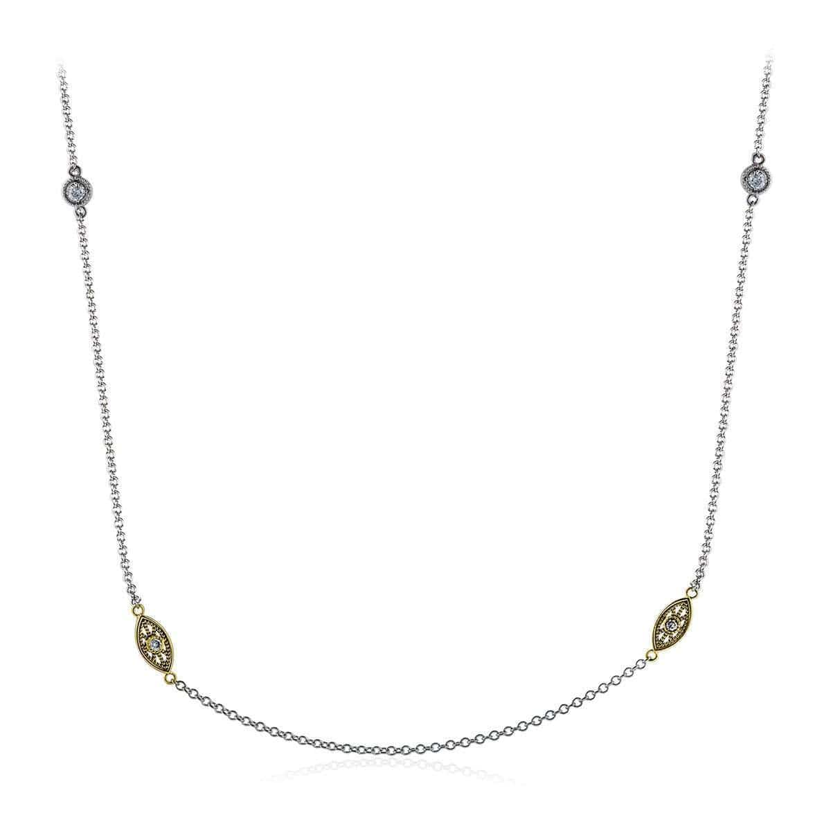 18k White & Yellow Gold Rounds Diamonds Chain - CH101-YW