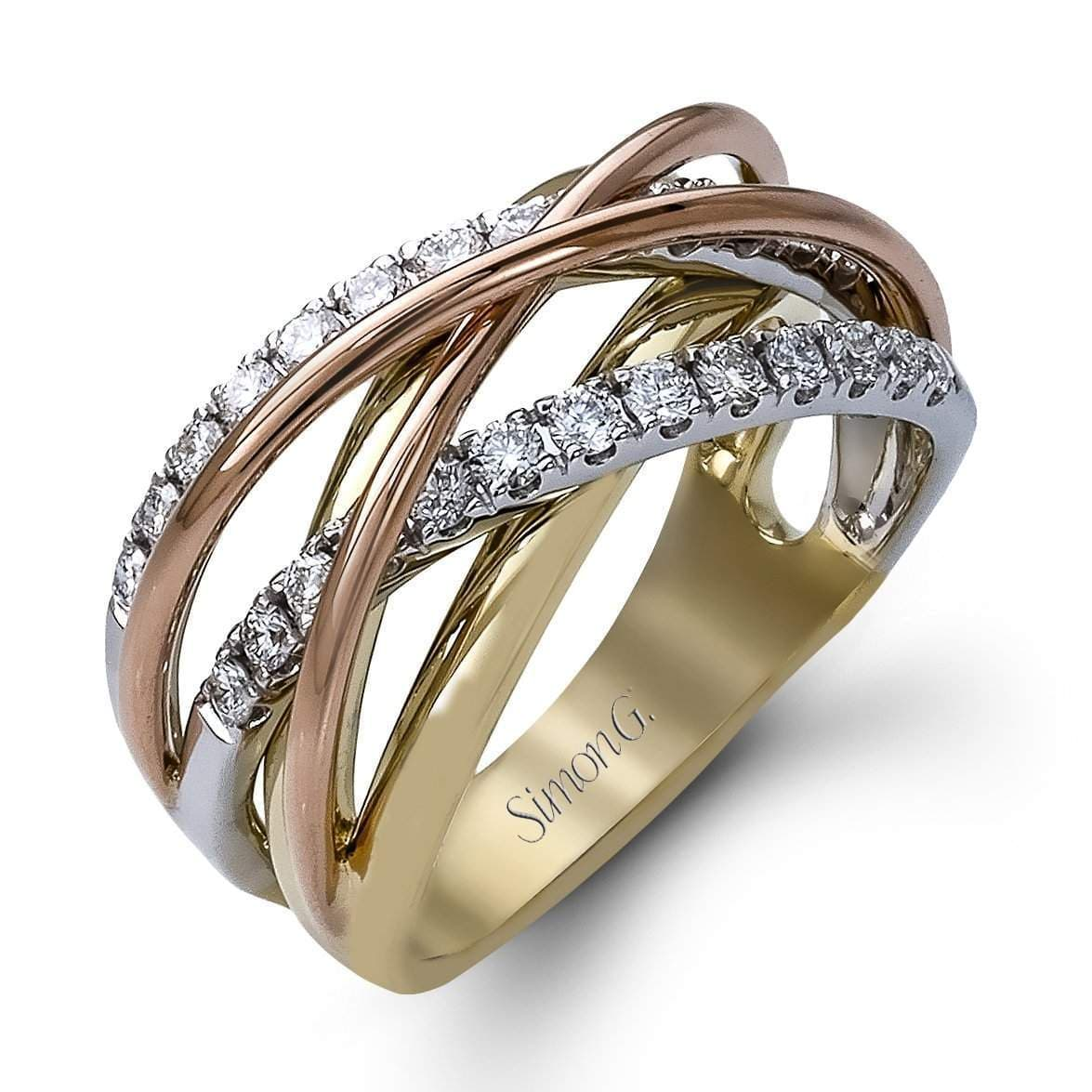 18k White, Yellow & Rose Gold 4 Strand Fashion Fable Ring - MR1854-WYR-Simon G.-Renee Taylor Gallery