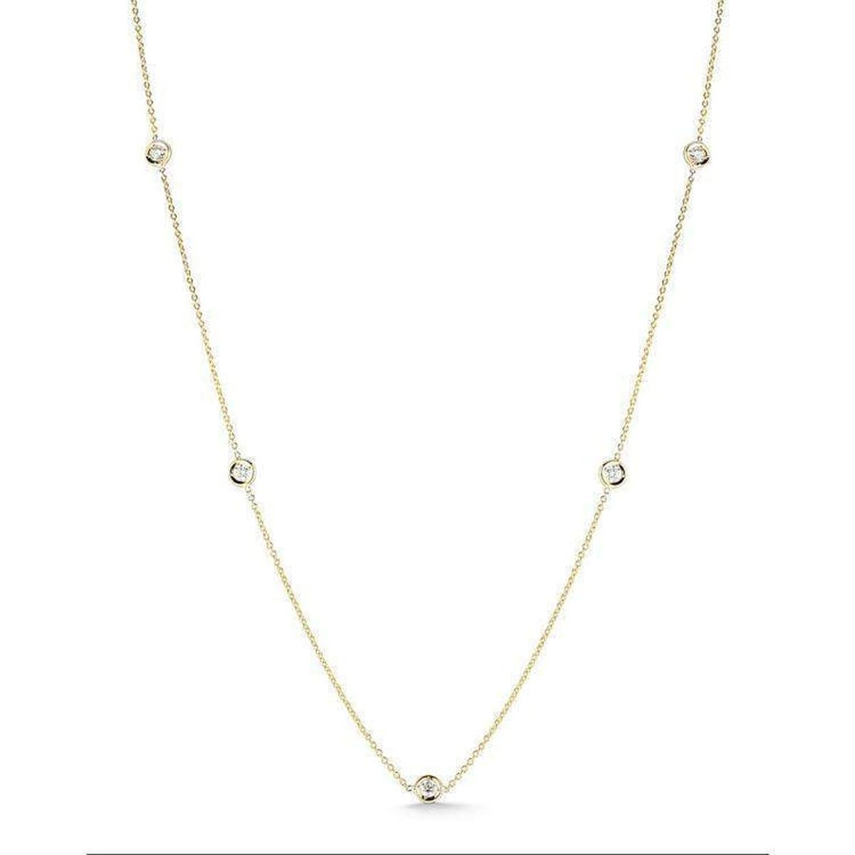 18k Yellow Gold & Diamond 5 Station Necklace - 001316AYCHD0-Roberto Coin-Renee Taylor Gallery