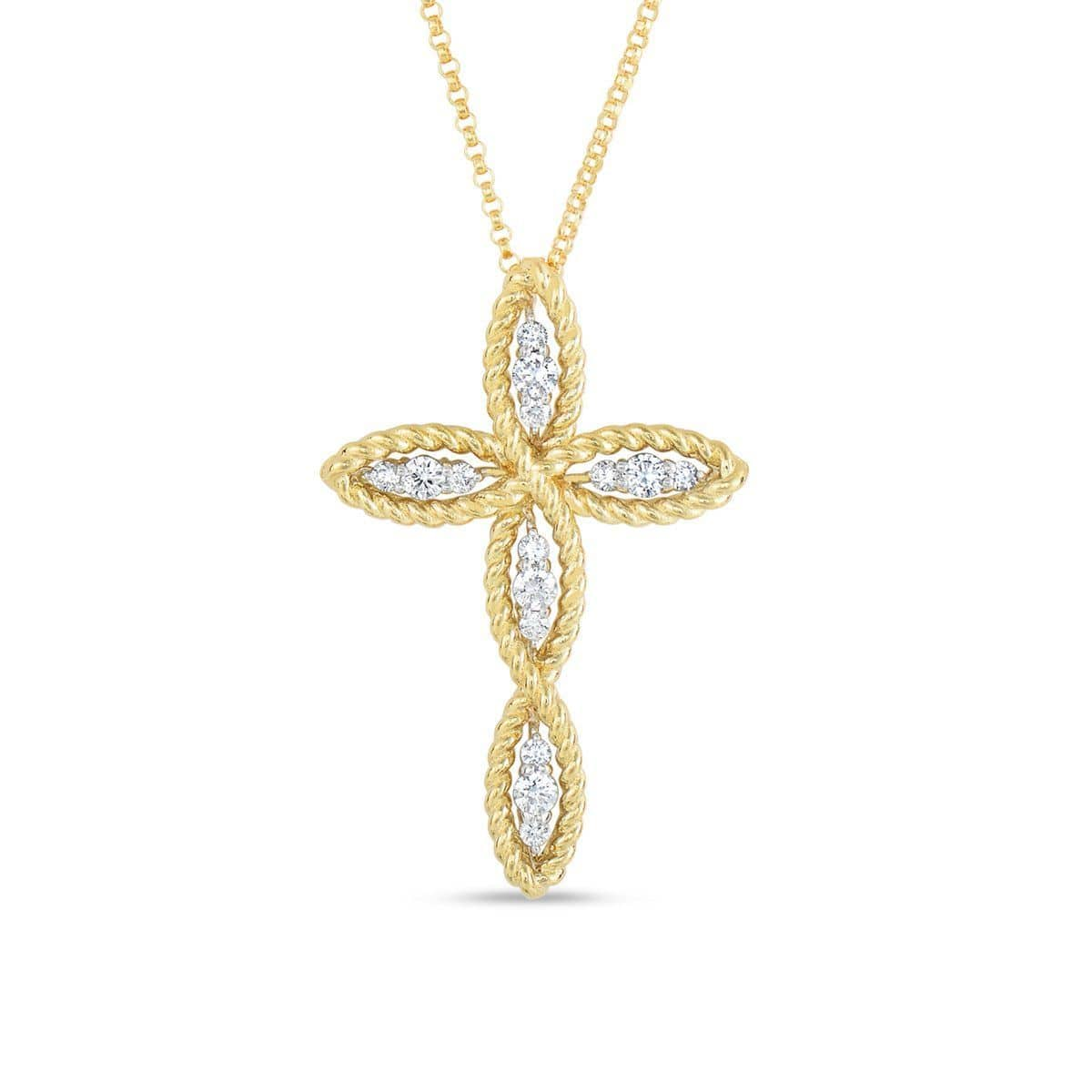 18k Yellow Gold & Diamond Cross Necklace - 7771269AJ18X-Roberto Coin-Renee Taylor Gallery