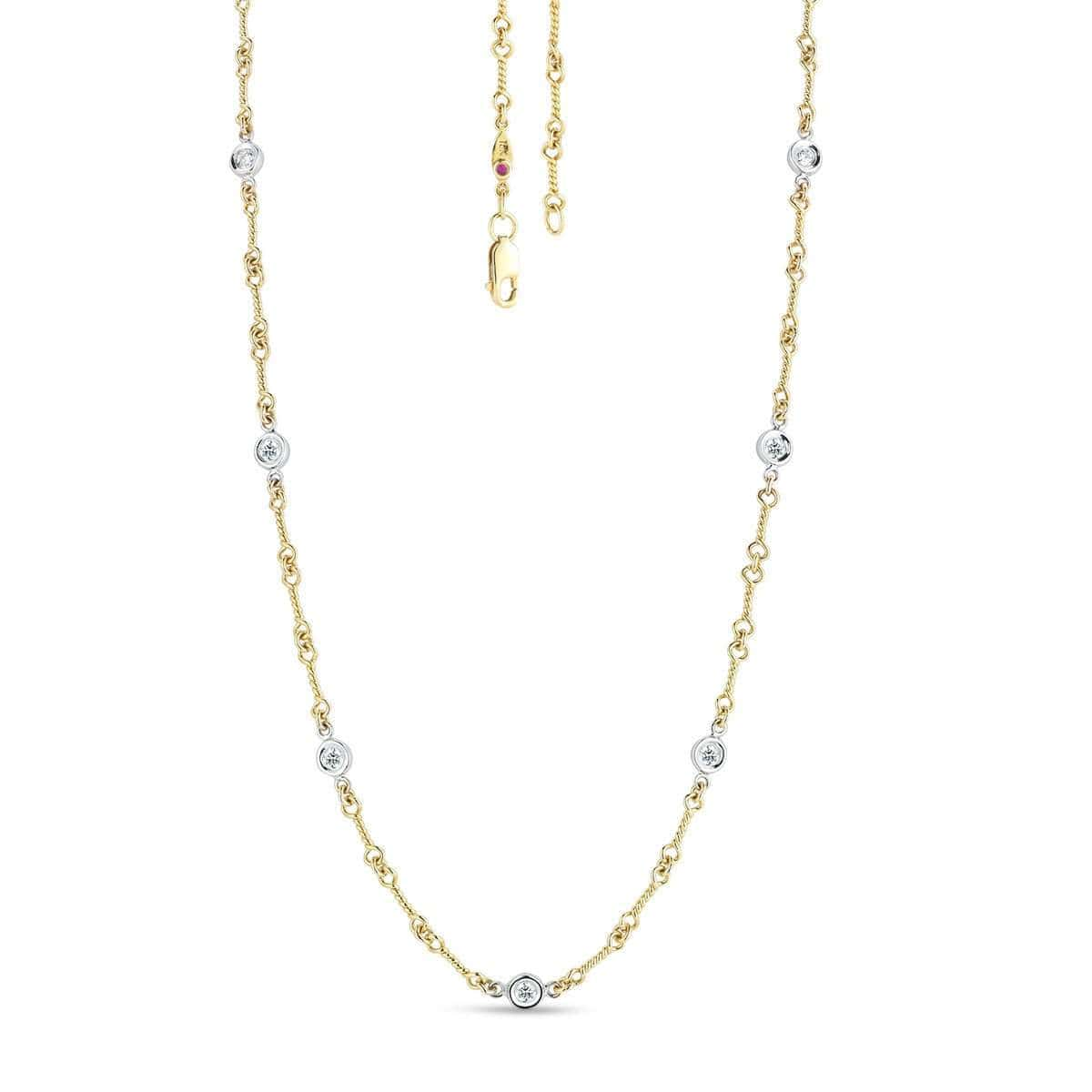 18k Yellow Gold & Diamond Necklace - 001824AJCHX0-Roberto Coin-Renee Taylor Gallery