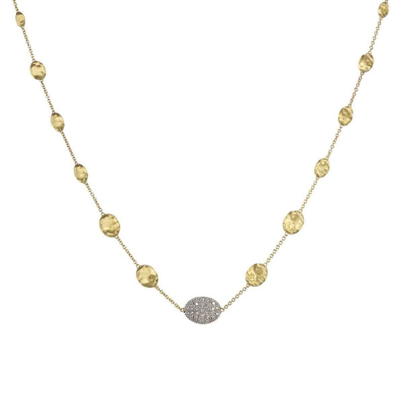 "18K Siviglia Diamond Graduated Necklace - CB1730 B YW 18""-Marco Bicego-Renee Taylor Gallery"