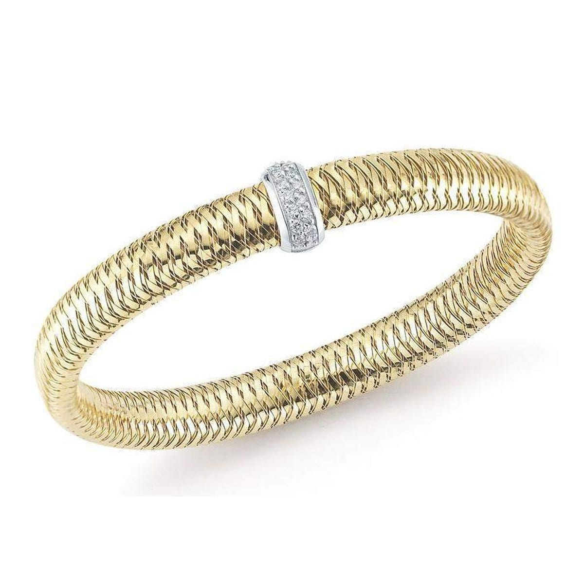 18k Yellow Gold & Diamond Primavera Bangle - 557716AJBAX0-Roberto Coin-Renee Taylor Gallery