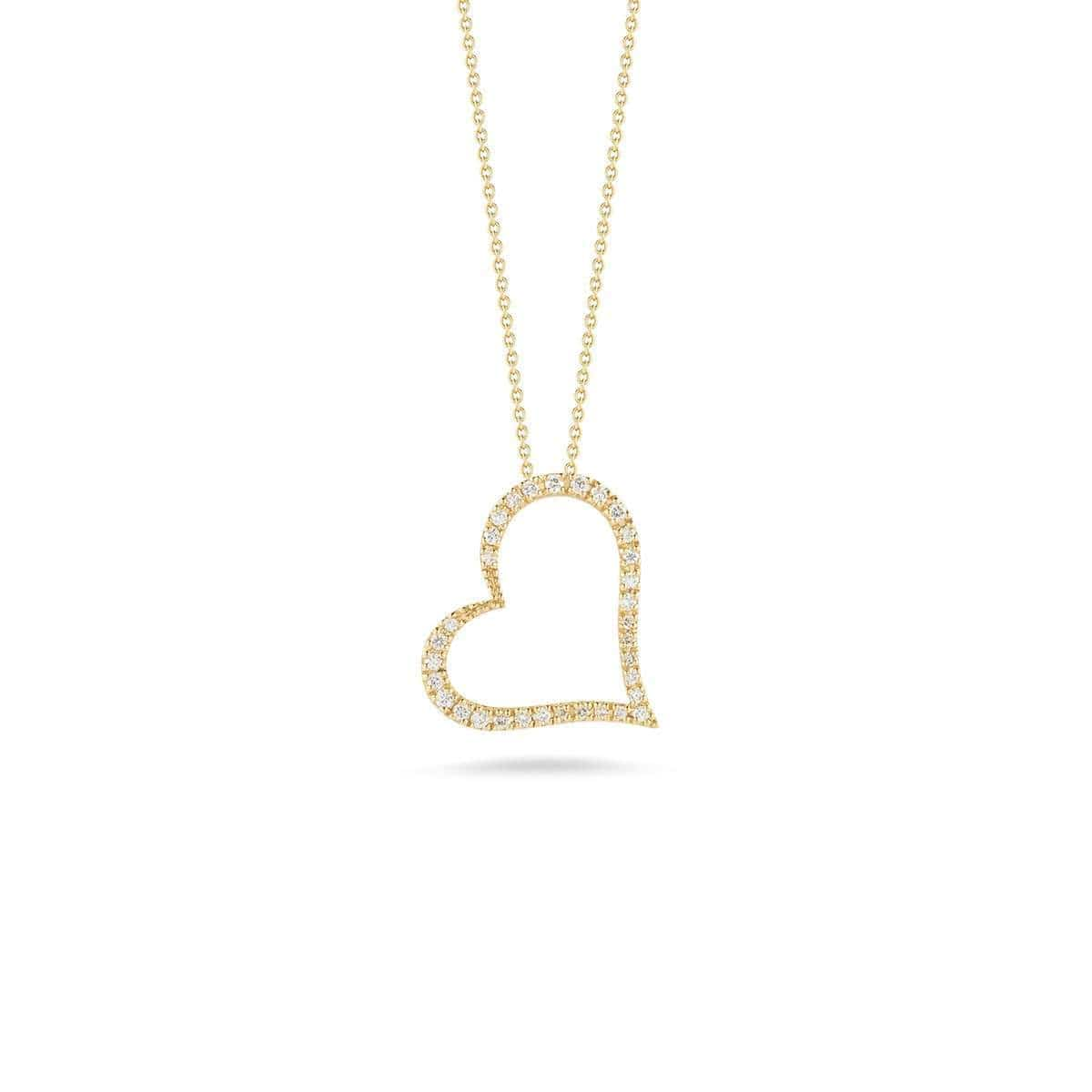 18k Yellow Gold & Diamond Slanted Open Heart Necklace - 001443AYCHX0-Roberto Coin-Renee Taylor Gallery