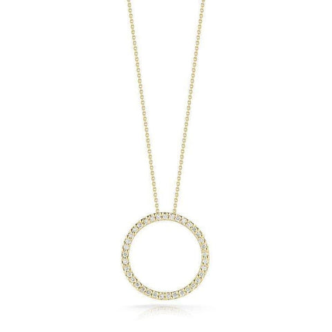 18k Yellow Gold & Diamond Circle Necklace - 001259AYCHX0-Roberto Coin-Renee Taylor Gallery