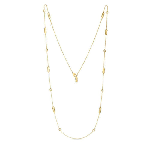 18k Yellow Gold & Diamond Station Necklace - 7771248AY36X-Roberto Coin-Renee Taylor Gallery