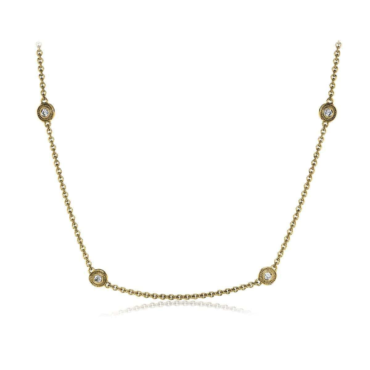 18k Yellow Gold Rounds Diamonds Chain - CH109-Y-Simon G.-Renee Taylor Gallery