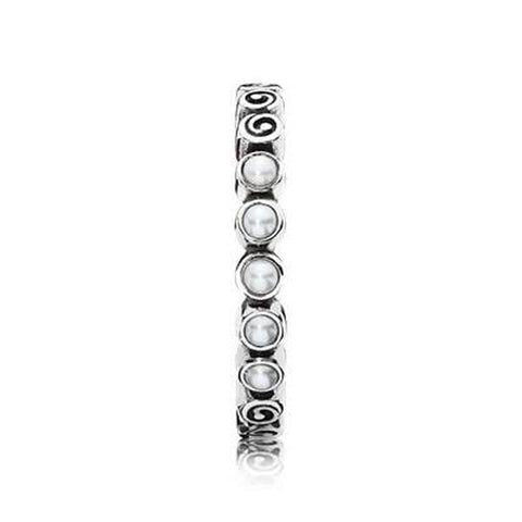 Small Spirals White Pearl Ring - 190836P - Pandora