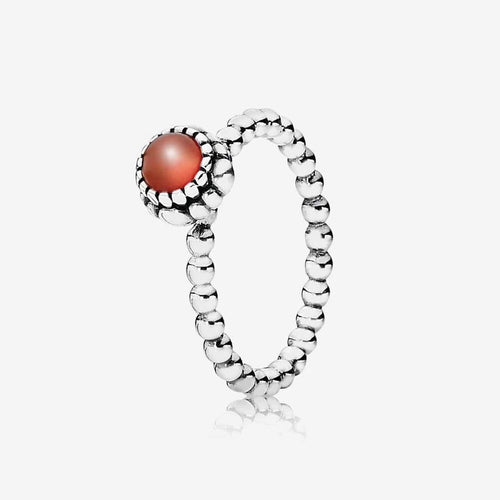 Birthday Blooms July Carnelian Ring - 190854CAR-Pandora-Renee Taylor Gallery