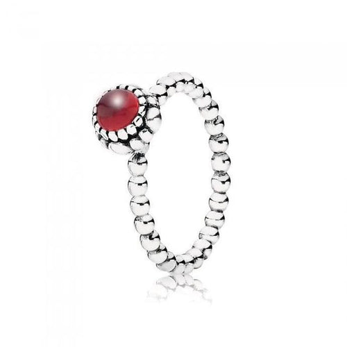 Birthday Blooms January Garnet Ring - 190854GA-Pandora-Renee Taylor Gallery