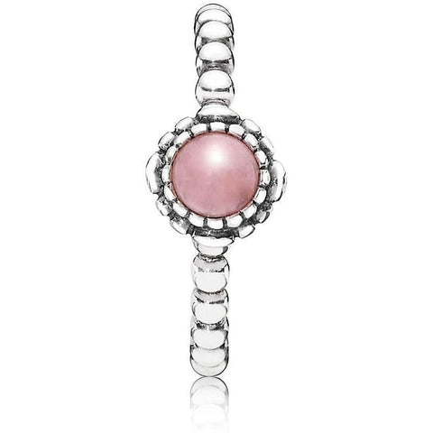 Birthday Blooms October Pink Opal Ring - 190854POP - Pandora