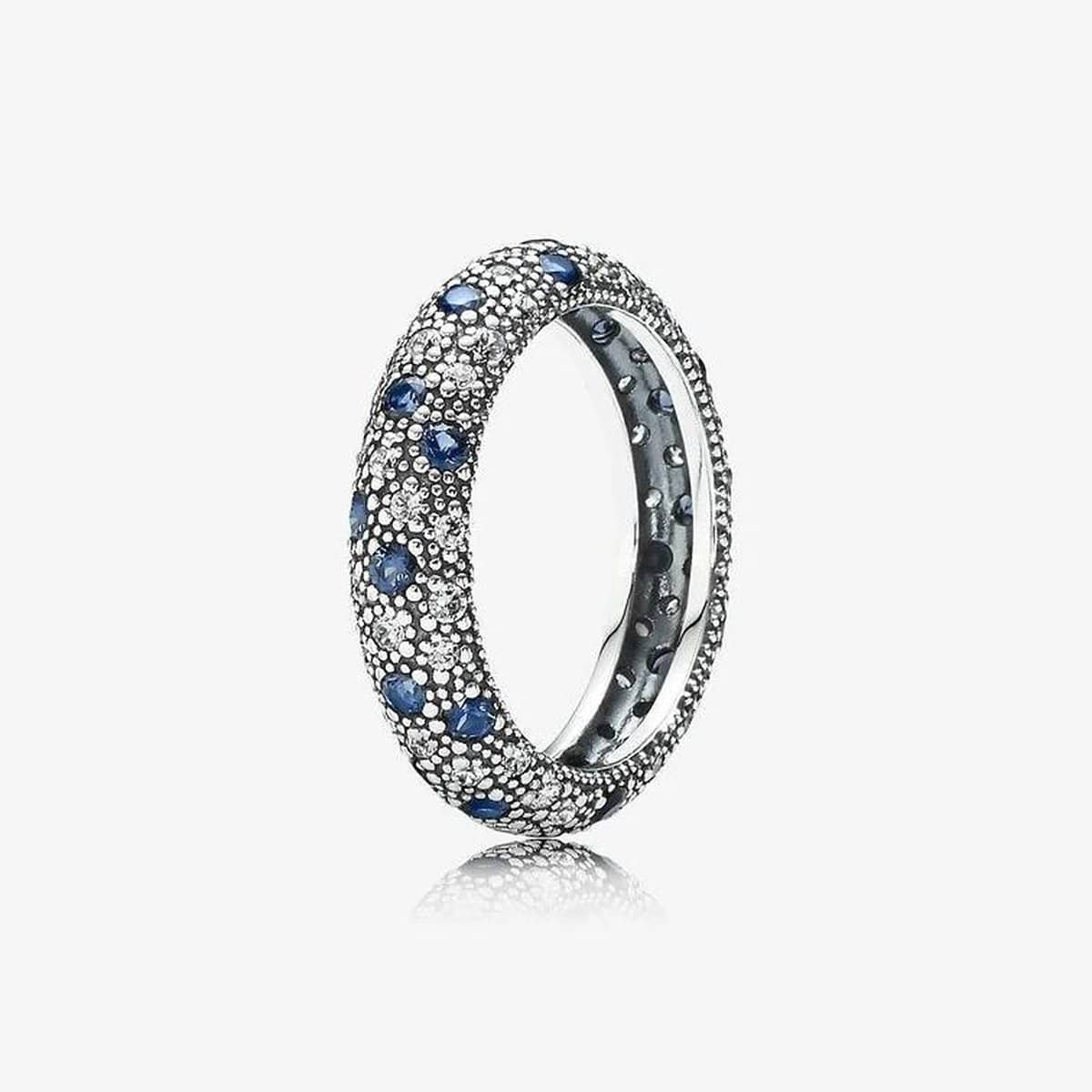 Cosmic Stars Midnight Blue Crystal & Clear Cubic Zirconia Ring - 190915NBC-Pandora-Renee Taylor Gallery