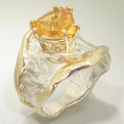 14K Gold & Crystalline Silver Citrine Ring - 19618