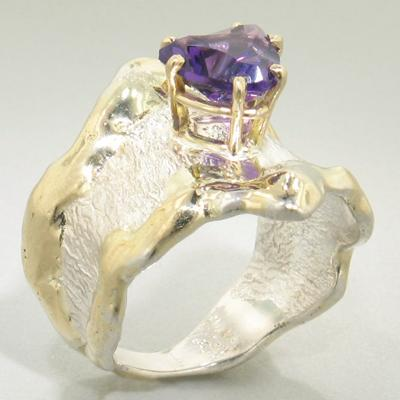 14K Gold & Crystalline Silver Amethyst Ring - 19832-Fusion Designs-Renee Taylor Gallery