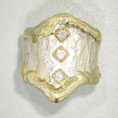 14K Gold & Crystalline Silver Diamond Ring - 19877-Fusion Designs-Renee Taylor Gallery