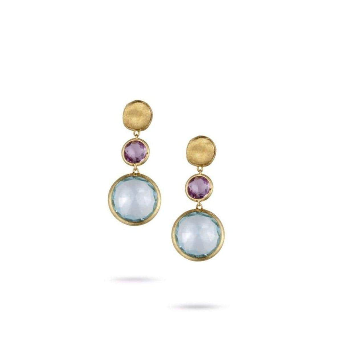 18K Jaipur Amethyst & Blue Topaz Earrings - OB900 A MIX52 Y