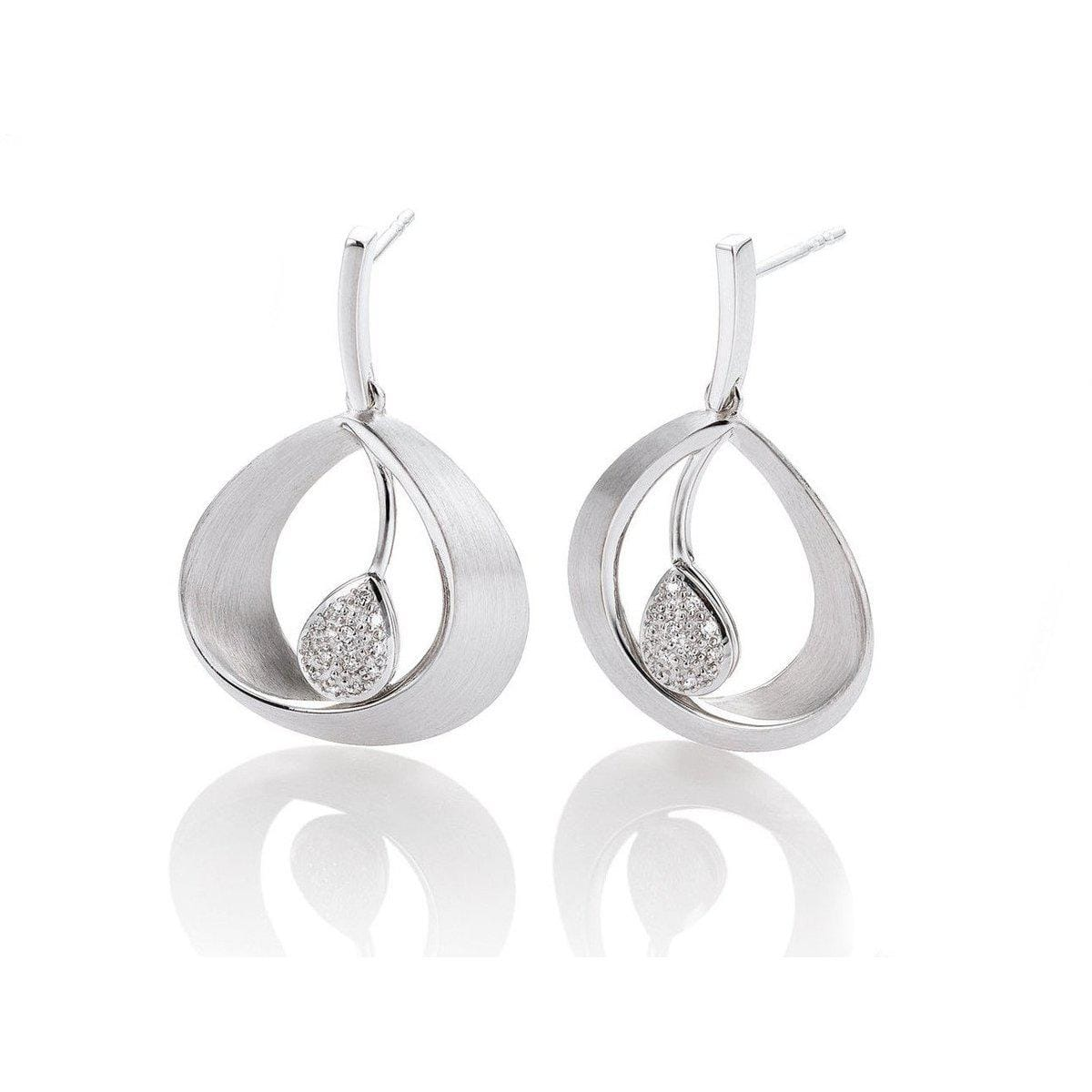 Rhodium Plated Sterling Silver Diamond Earrings - 11/03014-Breuning-Renee Taylor Gallery