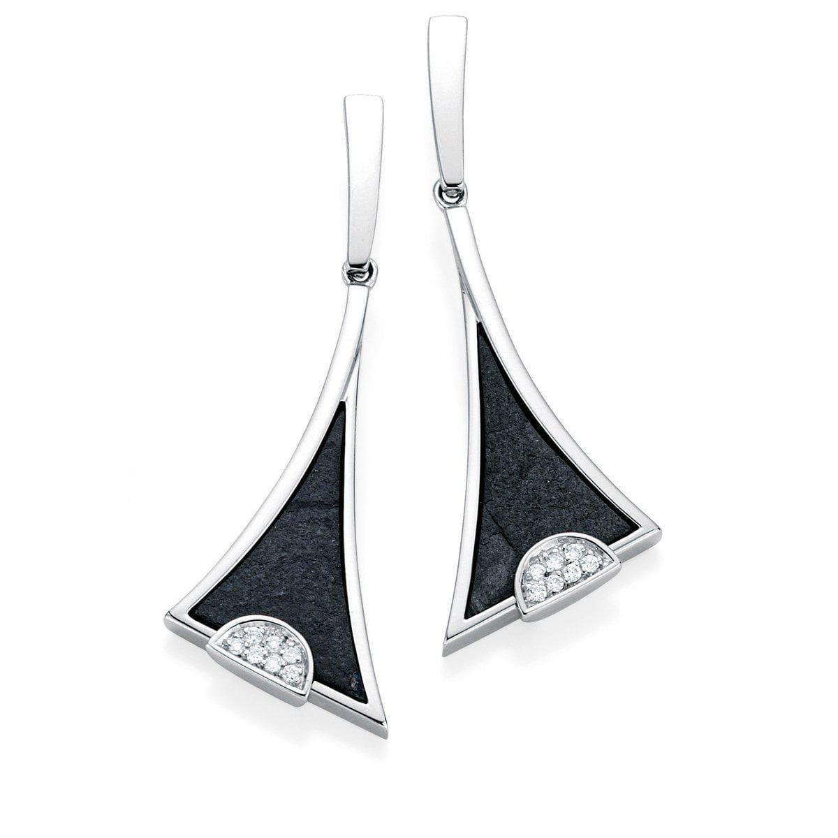 Rhodium Plated Sterling Silver Slate Diamond Earrings - 11/83671-Breuning-Renee Taylor Gallery