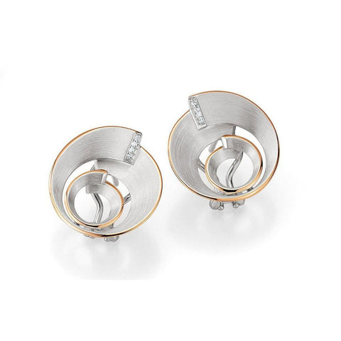 Rose Gold Plated Sterling Silver White Sapphire Earrings - 02/03667-Breuning-Renee Taylor Gallery