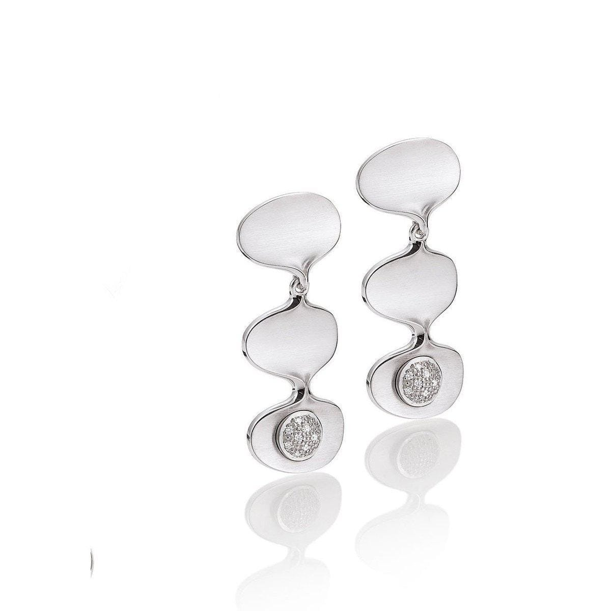 Rhodium Plated Sterling Silver Diamond Earrings - 11/03010-Breuning-Renee Taylor Gallery