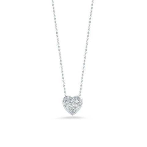 18k White Gold & Diamond Heart Necklace - 001549AWCHX0-Roberto Coin-Renee Taylor Gallery