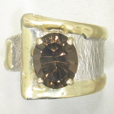 14K Gold & Crystalline Silver Smoky Quartz Ring - 21911-Fusion Designs-Renee Taylor Gallery