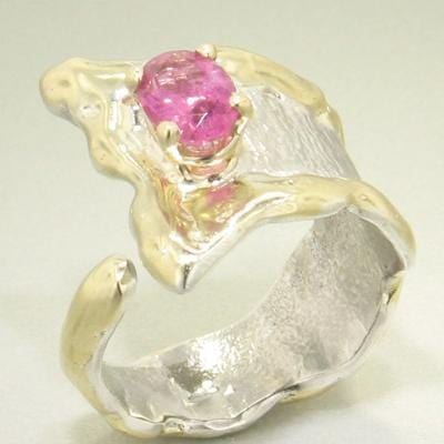 14K Gold & Crystalline Silver Pink Tourmaline Ring - 21944-Fusion Designs-Renee Taylor Gallery