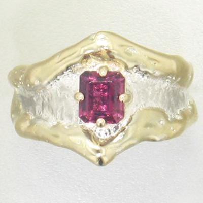 14K Gold & Crystalline Silver Pink Tourmaline Ring - 21948-Fusion Designs-Renee Taylor Gallery