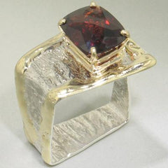 14K Gold & Crystalline Silver Garnet Ring - 23074-Fusion Designs-Renee Taylor Gallery