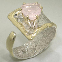 14K Gold & Crystalline Silver Rose Quartz Ring - 23094-Fusion Designs-Renee Taylor Gallery
