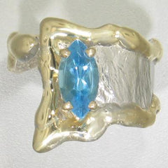 14K Gold & Crystalline Silver Blue Topaz Ring - 23159-Fusion Designs-Renee Taylor Gallery