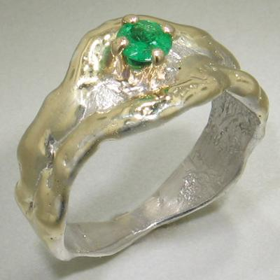 14K Gold & Crystalline Silver Emerald Ring - 23177-Fusion Designs-Renee Taylor Gallery