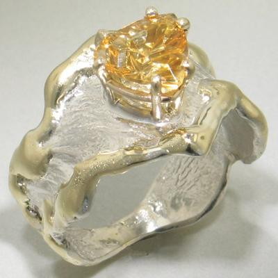 14K Gold & Crystalline Silver Citrine Ring - 23196-Fusion Designs-Renee Taylor Gallery