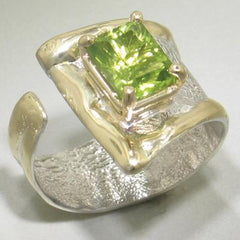 14K Gold & Crystalline Silver Peridot Ring - 23198-Fusion Designs-Renee Taylor Gallery