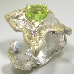 14K Gold & Crystalline Silver Peridot Ring - 23202-Fusion Designs-Renee Taylor Gallery