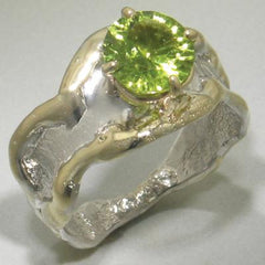 14K Gold & Crystalline Silver Peridot Ring - 23206-Fusion Designs-Renee Taylor Gallery
