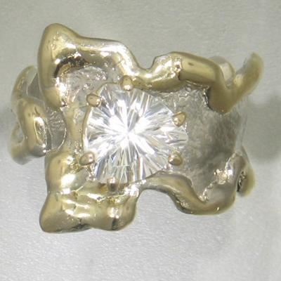 14K Gold & Crystalline Silver White Topaz Ring - 23266-Fusion Designs-Renee Taylor Gallery