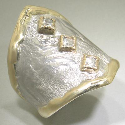 14K Gold & Crystalline Silver Diamond Ring - 23274-Fusion Designs-Renee Taylor Gallery