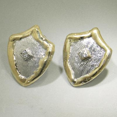 14K Gold & Crystalline Silver Diamond Earrings - 23864-Fusion Designs-Renee Taylor Gallery