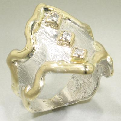 14K Gold & Crystalline Silver Diamond Ring - 23871-Fusion Designs-Renee Taylor Gallery